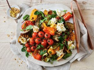 Chargrilled vegetable salad with whipped basil fetta