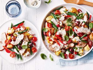 Smashed potato, olive and BBQ chicken salad